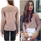 Women Chiffon Lace Crochet Long Sleeve Shirt Casual Blouse Mosaic Hollow Tops