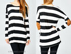 BLACK White SLUB STRIPED Elbow Patch TOP Suede Long Sleeve Tunic Shirt S M L
