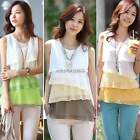 New Womens Loose Casual Chiffon Sleeveless Vest Shirt Tank Tops Blouse Pullover