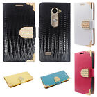 LG Leon C40 Leather Wallet Case Pouch Flip Cover Crocodile Skin + Screen Guard