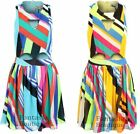 Ladies Multi Colour Stripe Cut Out Front Flare Skirt Women's Short Dress 8-14