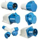 BLUE 240V 16 AMP 3 PIN INDUSTRIAL SITE PLUG & SOCKETS IP44  2P+E MALE/FEMALE
