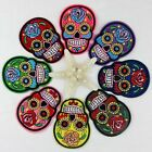 Embroidered Iron On Flower Skull Head On Patch DIY Sewing Applique Punk
