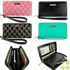 Wallet Women's Cute Quilted Leather Smart Phone Clutch Purse Wristlet Cover Case