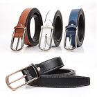 Fashion Womens Leather Skinny Belt Square Silver Buckle Plain Waist Belts