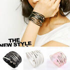 Multilayer Cuff Bangle Gothic Punk Biker Wrapped Leather Bracelet Jewelry Unisex