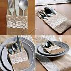 "4""x 9.5"" Hessian Burlap&Lace Wedding Cutlery Holder Pouch Rustic Favor Decor"