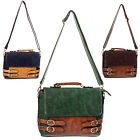 Womens 1940s 1950s Vintage Hipster Faux Leather Satchel Messenger Bag Handbag