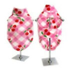 DOG FLEECE VEST - PINK PLAID WITH CHERRIES - SIZES L, XL, XXL, XXXL