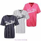 WOMENS LADIES AMERICAN BASEBALL NEW YORK STRIPES VARSITY NY JERSEY TOP T-SHIRT
