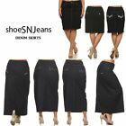 New Women Classic Denim Jean Dark Wash H-Line Stretch Maxi Long and Short Skirts