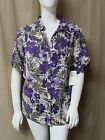 NWT Erika PURPLE FLORAL BUTTON FRONT TOP size 3X Roll Tab Short Sleeeve SHIRT
