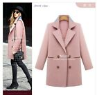2015 Winter ladys wool blend Double-Breasted Overcoat Jacket 3 colors plus size