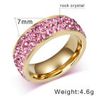 Stainless Steel Ring, Pink, Golden, Crystal KR2084