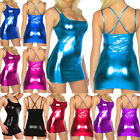 1PC Women Lingerie Faux Leather Wet Look Bodycon Short Mini Dress Party Clubwear