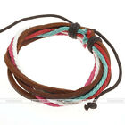 HOT Multilayer Braided Waxed Cord Rope Cow Leather Surf Wristband Bracelet Gift