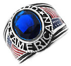 Blue Stone Proud American USA Flag Silver Stainless Steel Mens Ring