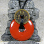 Red Jasper Crystal Donut Pendant with a Feng Shui Coin & Necklace, PND1350