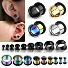 Pair 2-14mm Stainless Steel Single Flared Ear Tunnel Plugs Expander Stretcher