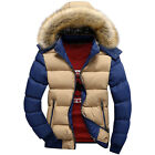 new man faux fur hoodies zipper winter warm coat jacket outerwear S M L XL