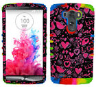 Love Hearts Birds Pink Tie Dye Impact Shock Proof Hard Soft Cover for LG G3 Case