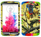 Yellow Camo Mossy Autumn Tie Dye Hybrid Rubber Hard Soft Cover for LG G3 Case