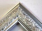 "1.8"" Wide Swirl Silver Solid Wood Picture Frame-Custom Made In Square Sizes"