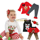 Baby Girls Christmas Deer Top shirt Dress Pants 2Pcs Outfit Clothes Set Newborn