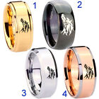 Tungsten Wolf Design  8MM Gold IP Step Black Dome Silver Rose Bevel Edge Ring