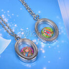 Vogue Floating Charm Living Memory Glass Ellipse Locket Charms Pendant Necklace