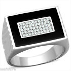 Black Top Micro-Pavé Setting Bling Stones 925 Sterling Silver Mens Best HQ Ring