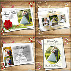 Personalised Elegant Wedding Day Thank You PHOTO Cards Inc Envelopes - Various