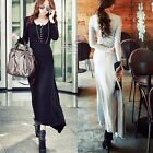 Slim Fit Wear To Work Women's Button Up Stretch Maxi Long Dress Asymmetric Solid