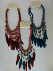 Feather, Cord & Gold Tone Chain & Bead Statement Cuff/Collar Necklace UK Seller