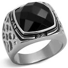 Jet Black Onlyx Stone With Eight Crystal Silver Stainless Steel Mens Ring