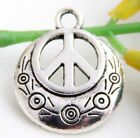 Wholesale18/39Pcs Tibetan Silver Peace Sign Charms 24x20mm(Lead-free)