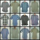 Basic Edition Mens Button Front Shirt Short Sleeve Plaid Solid Top NEW