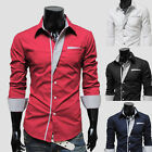 New Mens Dress Shirts Long Sleeve Casual Slim Fit T-Shirts Formal Tops Stylish