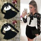Womens Sweet Autumn Winter Lace Long Sleeve Pleated Waisted Dress Bowknot