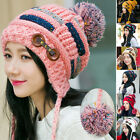 Womens Girls Crochet Wool Knit Beanie Ball Wool Hats Winter Thick Warm Ski Cap