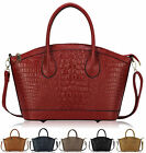 Ladies Leather Style Alligator Print Vintage Celebrity Bucket Satchel Handbagag