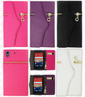 For HTC Desire 626 Leather Premium Zipper Wallet Case Flip Phone Cover Accessory