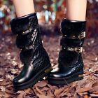 Winter Warm Women Buckle Decor Pull On Platform Wedge Heel Riding Mid Calf Boots