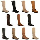 Womens Ladies Knee High Long Boots Low Heel Faux Leather Winter Slouch Shoes