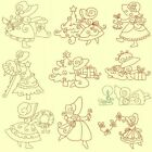 Christmas Sunbonnets Machine Embroidery Redwork Designs-40Anemone Embroidery Des