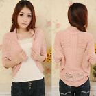 Korean Style 3/4 Batwing Sleeve Women Sweater Hollow-out Knitwear Knitted Tops