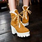 Roman Women's Lace Up Platform Chunky High Heel Casual Motorcycle Ankle Boots Sz