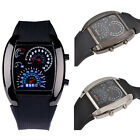 Men's Black Rubber Band Racing Blue White Light Sport Digital LED Watch Casual