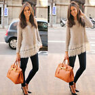 Womens Hollow Out Long Sleeve Knit Lace Printing Loose T-Shirt Blouse Tops Tee