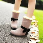 Womens Sweet Bowknots Pull On Fur Lined Ankle Boots Winter Warm Snow Boots Shoes